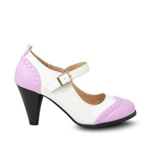Women's Purple/White Two Tone Mary Jane Retro Pump